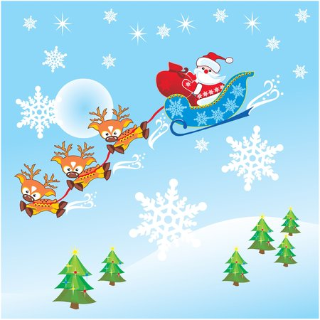 santa claus & reindeer   Illustration