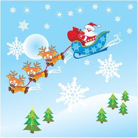 toy sack: Santa Claus y los renos  Vectores
