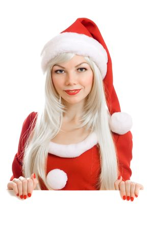 Female Santa Claus holding blank sign photo