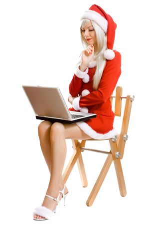 Female Santa Claus with notebook