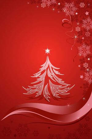 Abstract Christmas tree on the red background. Vector illustration. Vector