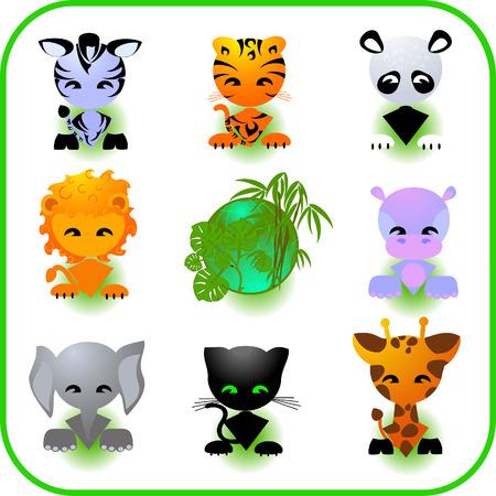 Cute Safari Animal Set Vector Illustration Vector