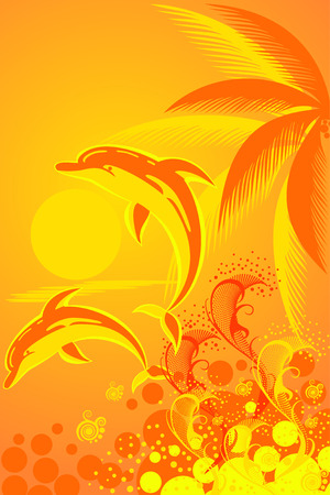 Tropic background with palm tree and two dolphins Vector