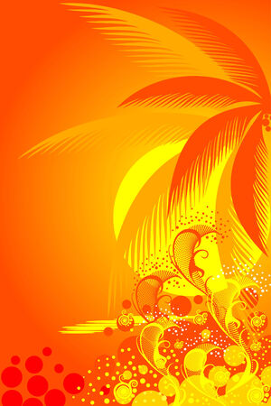 frond: palm trees on tropical beach vector