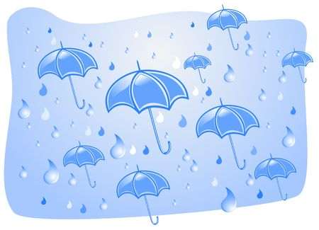 torrential: Downpour and umbrellas in the summer Illustration