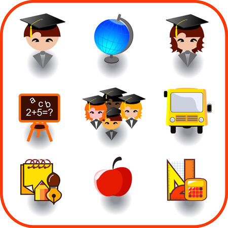 apple computers: set of education on vector icon