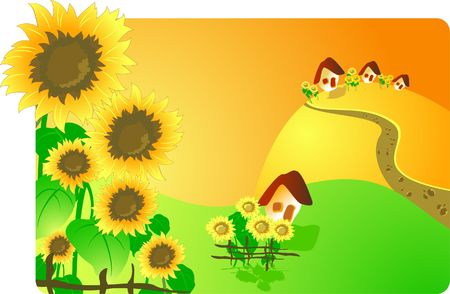 Rural landscape with sunflowers Vector