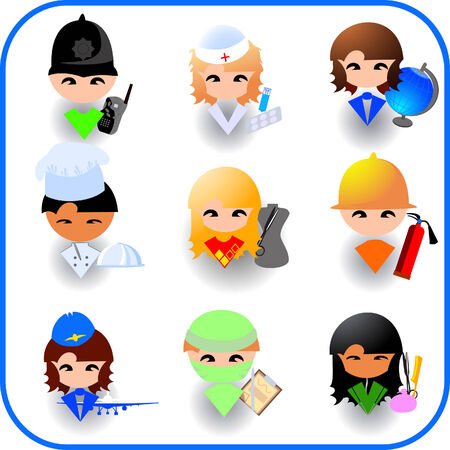 Peoples occupations. Icon set Illustration