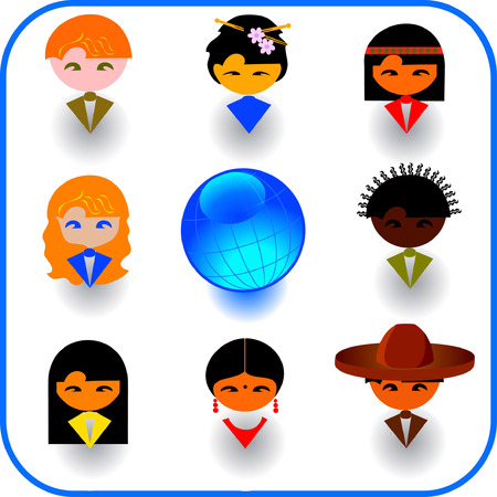 Vector illustrations of imaginary multi-ethnic people icon Vector