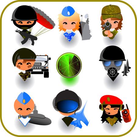 army gas mask: Iconos de la industria militar Vectores