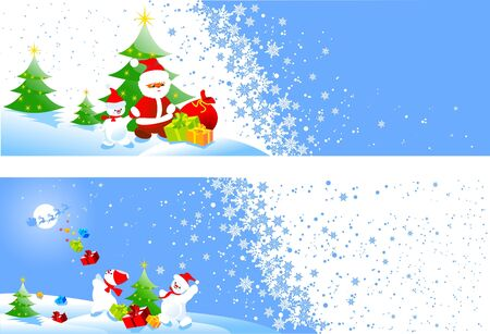 toy sack: Banners de Navidad Vectores