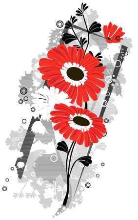 gerbera  flowers background Illustration