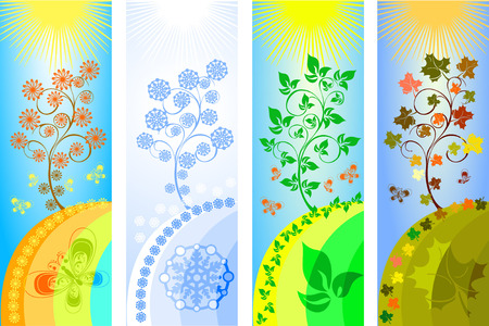 four seasons background vector illustration Stock Vector - 3727001