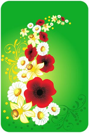 Poppies and camomiles on a green lawn Vector