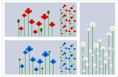 Grass and flowers silhouette, summer background Vector