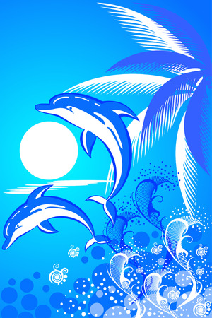 view icon: Summer background with palm tree and  two dolphins