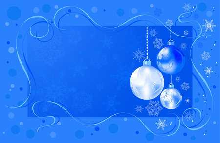 Christmas bulbs with snowflakes on blue background Vector