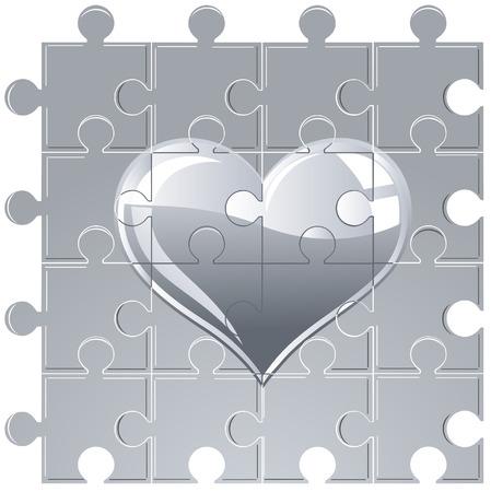 puzzle metallic heart Vector