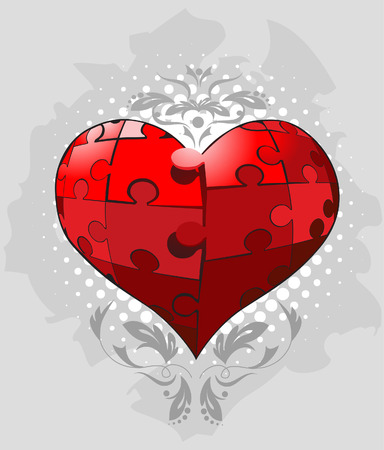 Jigsaw pieces heart Vector Vector