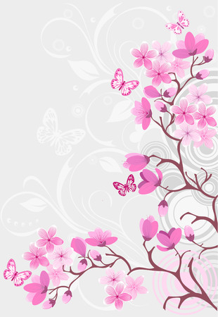 single color image: Cherry blossom background
