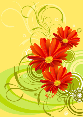 gerbera flower background design Illustration