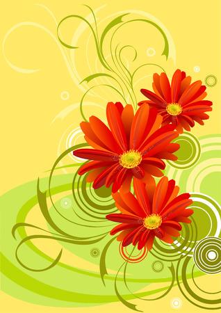 gerbera flower background design Illustration