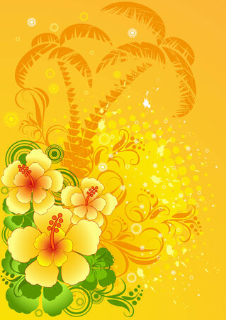 Vector illustration of summer composition with hibiscus, orange palm trees silhouette  Illustration
