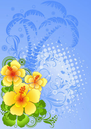 Vector illustration of summer composition with hibiscus, blue palm trees silhouette   Illustration