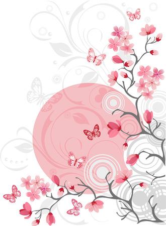 flor cerezo: Los cerezos en flor de fondo Vectores