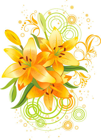 Three orange lily, vector grunge floral background Illustration