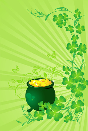 St. patricks day background with pot of gold and Four Leaf Clover