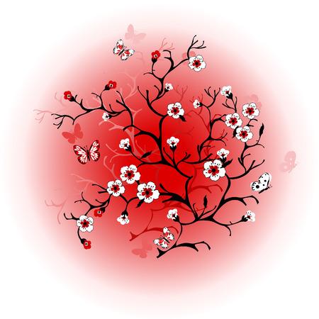 Cherry blossom against the sun Vector