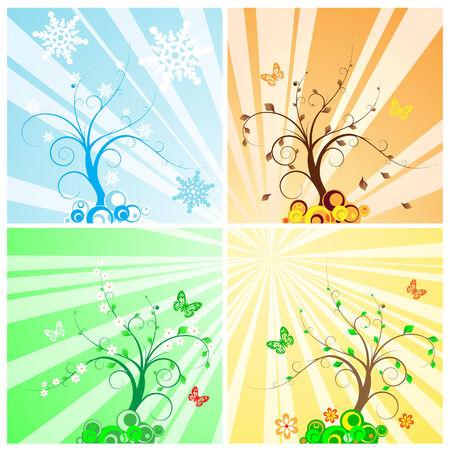 Four Seasons Tree Stock Vector - 4960295