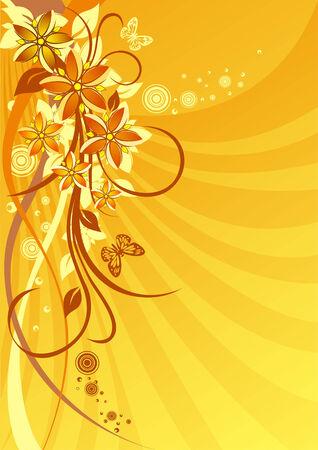 Orange flowers on a solar background Vector