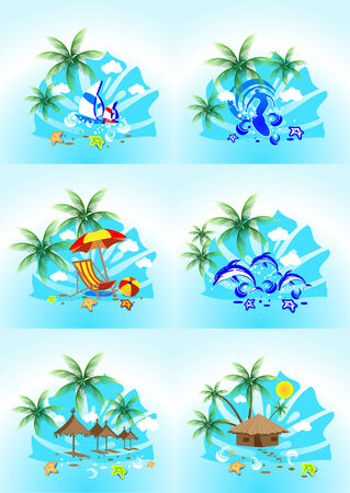 tropical images with the sea surf, palm trees and blue sky