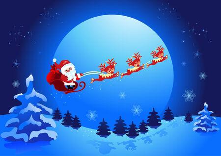 Christmas night, and Santa Claus   Vector