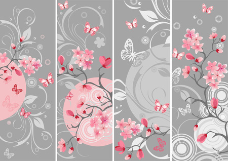 Cherry blossom set Vector