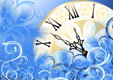 Happy New Year, blue card. Vector illustration. Stock Vector - 5945777