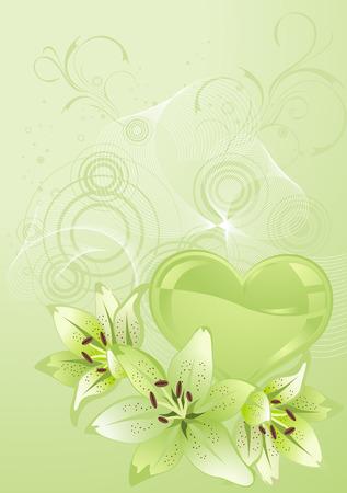 Valentines Day design green. Vector illustration. Vector