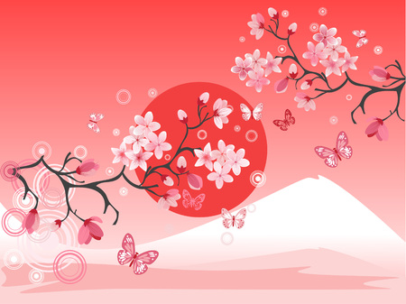 Japanese cherry tree to the background of the mountain Vector