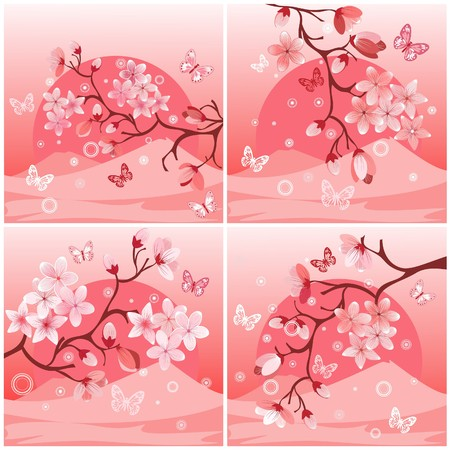 Japanese cherry tree to the background of the mountain Illustration