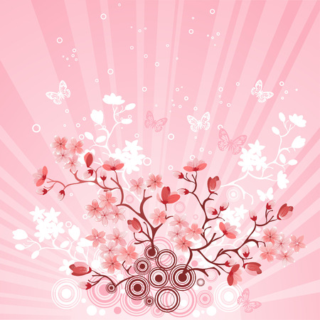 Japanese cherry tree to the background of the mountain Stock Vector - 7620050