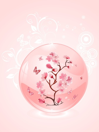branch of cherries in a glass bowl  Vector