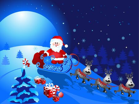 Santa Claus with sledge Stock Vector - 8640647