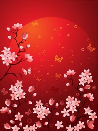 japanese background: Sakura blossoms Illustration