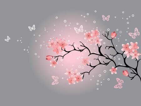 cherry pattern: cherry blossom, grey background