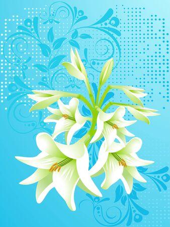 muguet fond blanc: vecteur floral arri�re-plan, lily blanc  Illustration