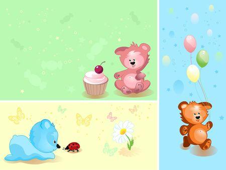 teddy toy, happy birthday, vector illustration illustration