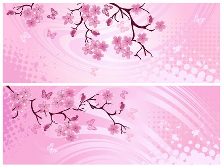 Cherry blossom, banner. Vector illustration   illustration