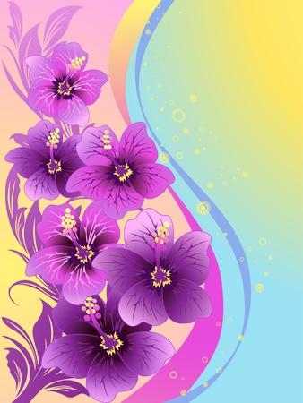 ibiscus: fiori di ibisco, onde tropicali, illustrazione vettoriale Archivio Fotografico